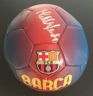 Michael Laudrup Signed Barcelona Football+Photo Proof*see Ball With Laudrup*