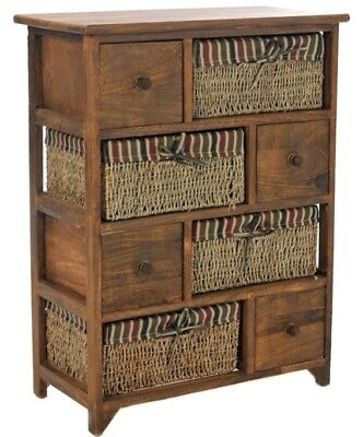 White Wicker Cabinet Maize Drawer Chest Basket Retro Bedside Cabinet 3 Tier Unit