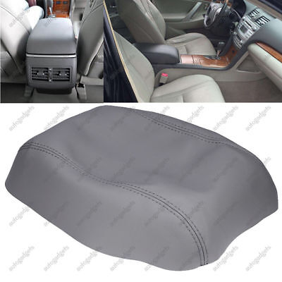 Leather Armrest Center Console Lid Cover Fits for Toyota Camry 2007-2011 Gray