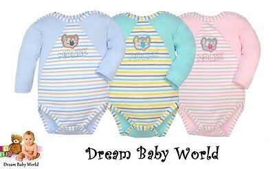 100% Cotton Baby girls boys Long Sleeve Bodysuits 6 - 12 months HIGHEST QUALITY