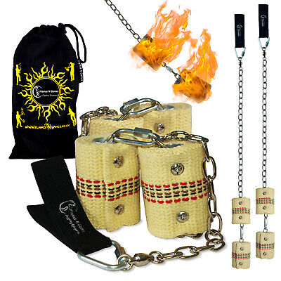 Fire Poi -Double Burner Flames N Games Pro Fire Spinning Poi 4 x 65mm wick + Bag