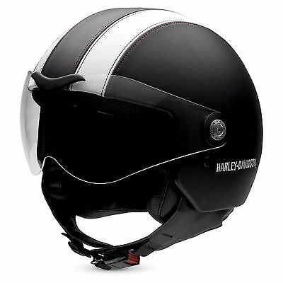 Harley-Davidson Aviator 3/4 Leather Black/White XSmall 54cm Helmet