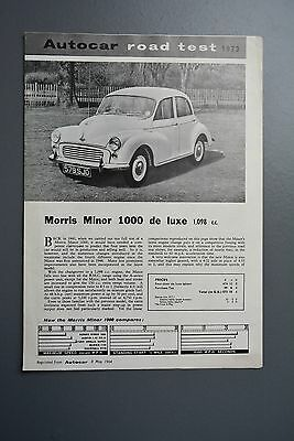 Vintage Brochure: BMC Morris Promo Reprint, Autocar Road Test 1098 Morris Minor