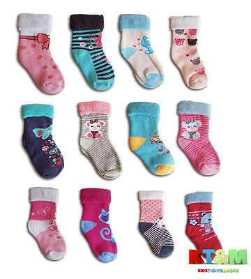 Baby Girl Toddler Terry Cotton Warm Winter Socks, Size 1 Month to 3 Years