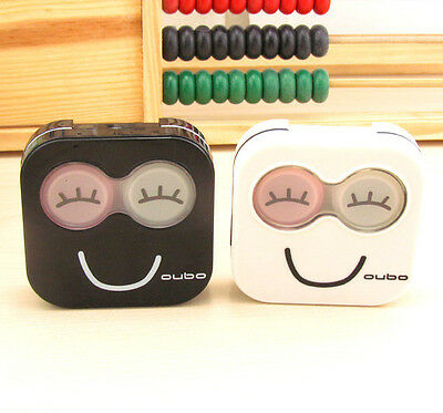 Cartoon Smile Contact Lens Case Travel kit Mirror Holder Container Storage Box