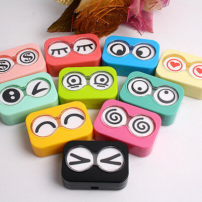 Multi Expression Contact Lens Case Travel Kit Portable US Pupil Container Box
