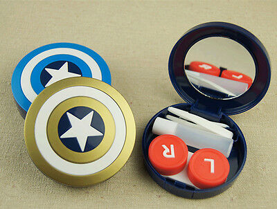 US Pupil Storage Box Captain America Shield Contact Lens Case Holder Container