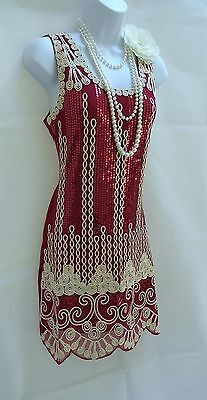 1920's Style Gatsby Red Vintage Look Charleston Sequin Flapper Dress Size 10/12