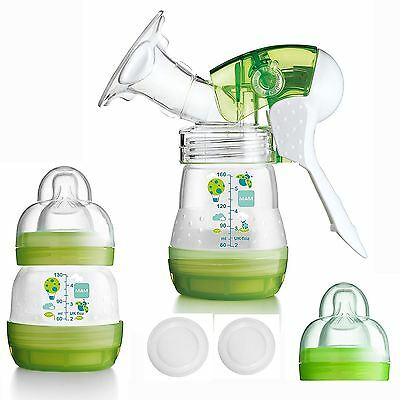 MAM Manual Anti-Colic Breast Pump Kit Handheld with 2 Baby Bottles & Soft Teats