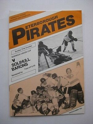 Peterborough Pirates v Silihull Barons 1985/86 Ice Hockey Programme