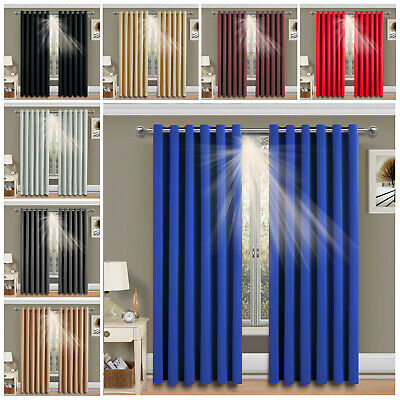 Luxury Thermal EYELET Blackout Curtain-Black Cream Pink Blue- Supersoft Material