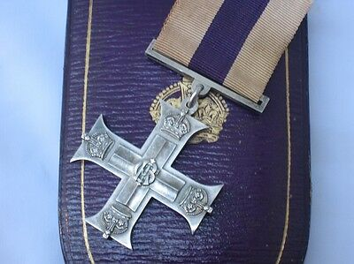 Original WWI Cased Solid Silver Full Size Military Cross (MC) Gallantry Medal.