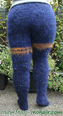 soft thick fuzzy mohair sweater Strumpfhose tights Willywarmer M-XL blau multi