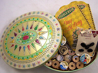 Vintage Lot of Thread Empty Wood Spools Buttons Needle Packages in Biscuit Tin