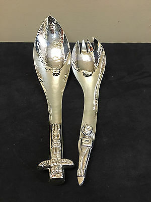 Silver Plate Jeffries And Co. First Nations Design Salad Set