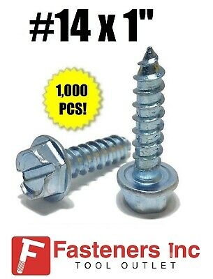 """(Qty 1000) #14 x 1"""" Hex Washer Head Slotted Sheet Metal Screw Zinc Plated"""