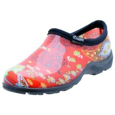 Sloggers 5104RD08 Womens Garden Shoe, Paisley Red, Size 8