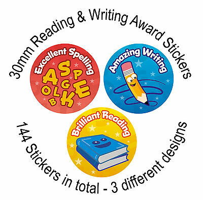 Reading, Writing & Spelling Reward Stickers - 144 30mm Stickers - 3 Designs