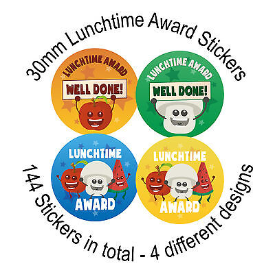 Childrens Reward Stickers, Lunchtime Award, Well done, 144 Stickers, 30mm labels