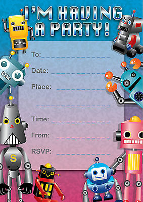 'I'm Having a party' Invitations (16) Robot Theme, Birthdays, Special occassions