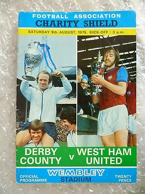 1975 Charity Shield Programme DERBY COUNTY v WEST HAM UNITED, 9th Aug