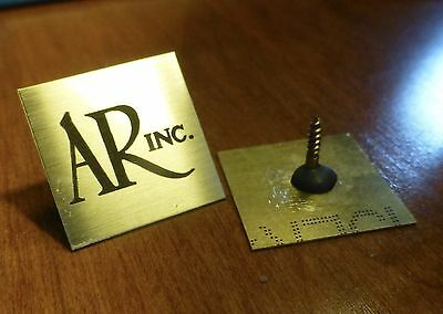 PAIR of SOLID SATIN BRASS AR Acoustic Research SCREW-BACK 4x Emblem Badge Logo