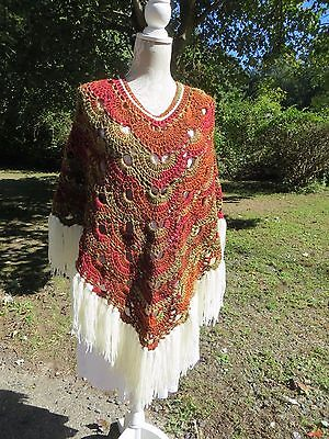 Handcrafted Crocheted Poncho Autumn colors  just completed  (NEW)