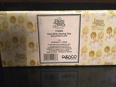 Precious Moments Resin 3-D Sculpted Plate - Two Girls Having Tea, New In Box