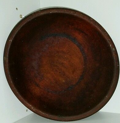 "Munising Hand Turned Wood Bowl Oval Out Of Round 8 1/2"" X 9 1/4"" Used Patina"