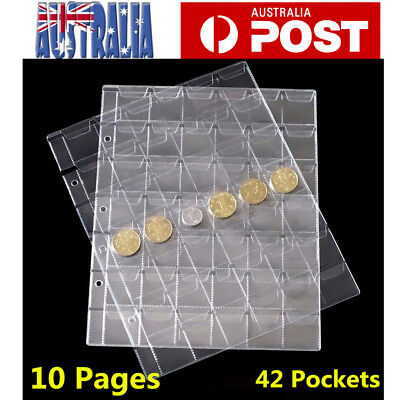 10x Pages 42 Pockets Plastic Coin Holders Storage Collection Money Album Case AU