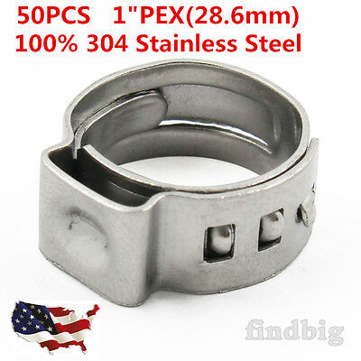 "50pcs 1"" PEX Stainless Steel Clamp Cinch Ring Crimp Pinch Fitting Tubing"