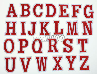 Red Alphabet Letter Patch Uniform Embroidered Patch Sew Iron on Badge Applique