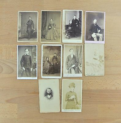 LOT of 10 Vintage / Antique Photographs CDV Cabinet Cards Photos