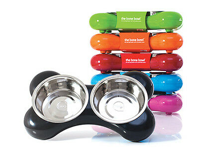 Hing Dog Bowl Bone Twin Stainless Steel Bowls Non Slip Feeding Dish All Colours