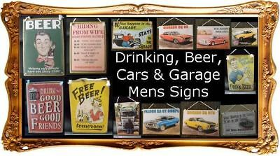 Country Printed Quality Wooden Sign BEER BAR DRINKING GARAGE CARS Saying Plaq...