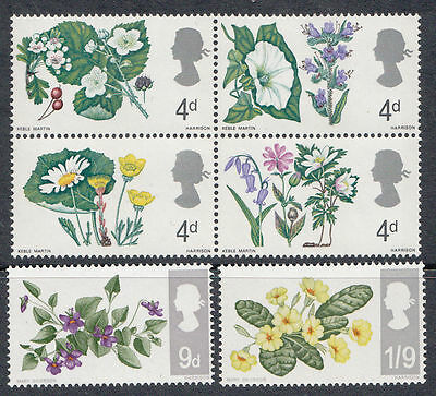 Qeii Mnh Stamp Set 1967 Wild Flowers Set Sg 717-722 10% Off Any 5+