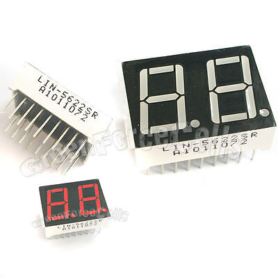 "5 pcs 0.56"" 7 Segment 2 Digit Super Red LED Display Common Anode 18 Pins"