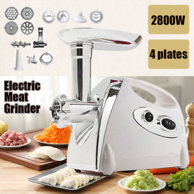 White 2800W Kitchen Steel Electric Meat Mincer Grinder Sausage Maker Filler UK