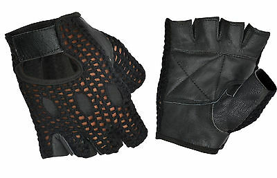 Genuine Leather Padded Weight Lifting Gloves Workout Sports Cycing Half Finger