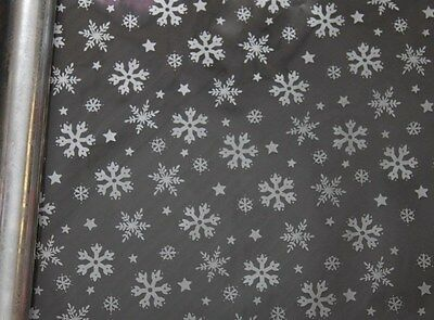 SILVER snowflake cellophane 10/20/30/50/100m rolls perfect 4 Christmas wrapping