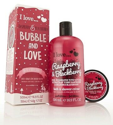 I Love… Raspberry & Blackberry Bubble and Love Bath and Body Treat Gift Set