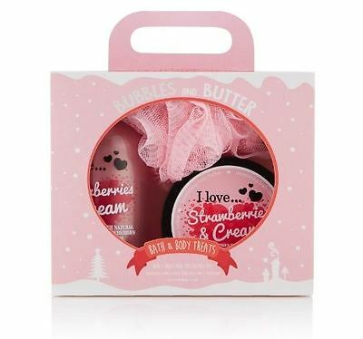 I Love... Strawberries & Cream Bubbles And Butter Christmas Gift Set