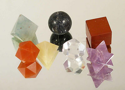 7 Mineral PLATONIC SOLIDS SACRED GEOMETRY SET Energy Healing crystal #In7