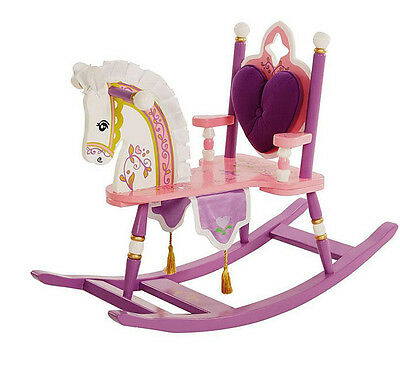 Rocking Horse For Kids Toy Ride Children Playroom Wooden Princess Rocker Chair