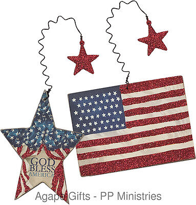 Primitives By Kathy Wood Hand Painted Ornaments - Patriotic Flag & Star 2/set