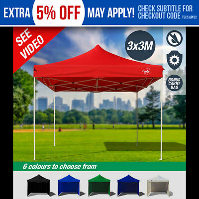 NEW CRAIG 3x3m Outdoor Gazebo - Folding Marquee Tent Canopy Shade Pop Up