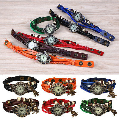 Women Owl Pendant Weave Wrap Analog Quartz Wrist Watch Leather Band Bracelet