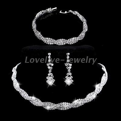 Diamante Crystal Bridal Choker Necklace Earrings Bracelet Set Wedding Jewelry