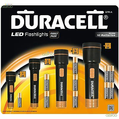 4x Duracell Voyager Super Clear LED Torch Ergonomic Flashlight Family Value Pack