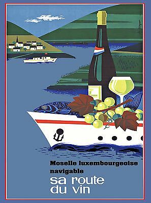Luxembourg sa route du vin Vintage Travel Advertisement Art Poster